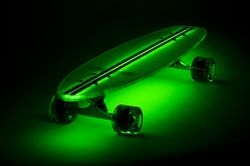 $175 Flexdex Clear29 LT Green Lighted Skateboard (It's actually a longboard but some people don't like to split hairs when they should)