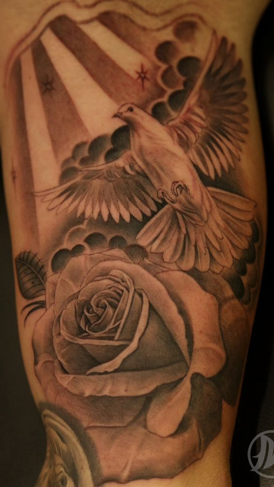 Lagit rose and dove tattoo tattoo shit pinterest for Two doves tattoo
