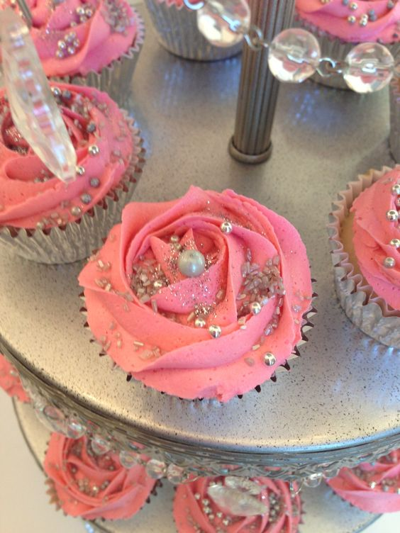 Design Your Own Sweet 16 Cake : Pink & silver cupcakes for a sweet 16th birthday bash. # ...