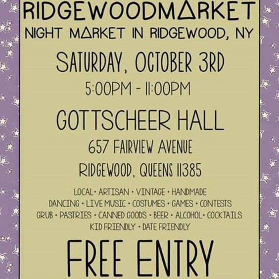 Can not wait to see everyone at the next #ridgewoodMarket !! It's a Saturday night and they're will be a dj so bring your dancing shoes everyone  stop by have a drink and fill your bellies with arancini from the RICEBALL queen herself  @ridgewoodmarket @ridgewoodsocial #queensny #queens #ridgewood #artisanmarket #riceballs #arancini #foodporn #goodeats