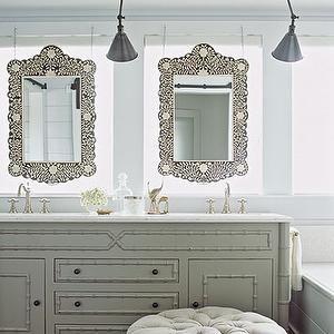 Bathroom Mirrors Coastal coastal living - bathrooms - faux bamboo, gray bathroom, gray