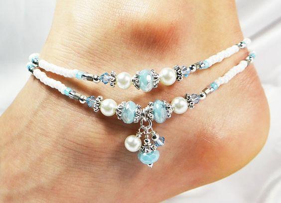 21.50 Anklet, Ankle Bracelet, Double Strand Dangles Aqua Blue, White Glass Pearls, Swarovski Crystals, Beaded, Bride Bridal Wedding Beach Vacation