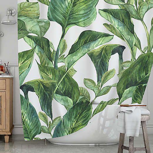 Kess Inhouse Banana Leaves Shower Curtain Banana Leaf Shower