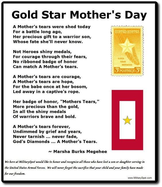 GOLD STAR MOTHER'S DAY (last Sunday in September)