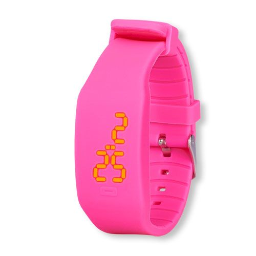 s Solid Led One-Touch Display Silicone Watch - Pink - The Children's Place