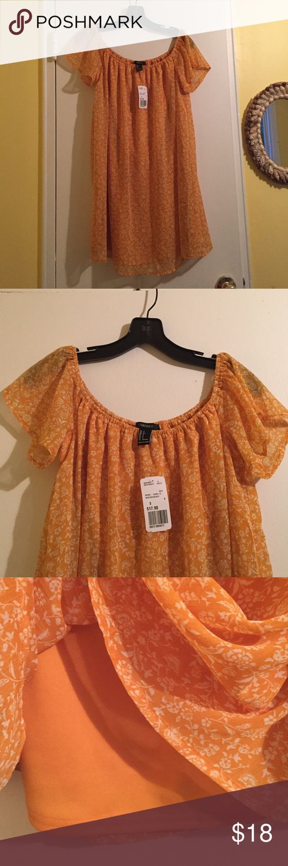 NWT forever 21 dress Short floral mustard and white dress. Loose fitting. Can be worn off the shoulder. Size small but fits like a medium. Just purchased on 5/25 never worn. Forever 21 Dresses Mini