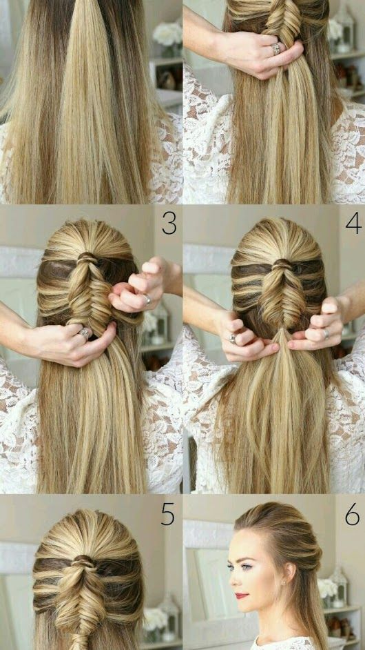 Half Up Dutch Fishtail Braid Picture Tutorial Hairstyle