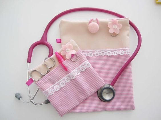 Set of 2 Cute pink Nurse stethoscope pouch and Pocket by ippoippo, $35.00