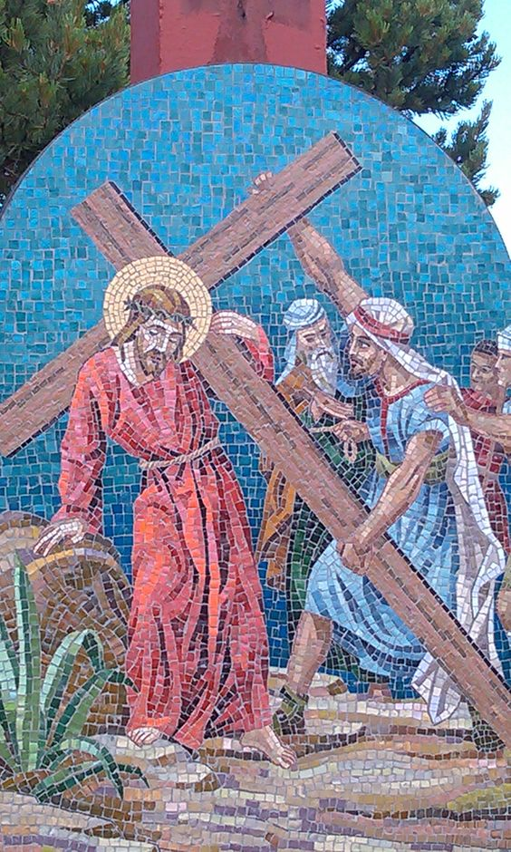 5 stations of the cross along the stairs mother cabrini for Crossing the shallows tile mural