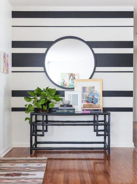 11 Modern Entryway Decor Ideas To Copy In Your Own Home Accent Walls In Living Room Brown Living Room Decor Striped Accent Walls