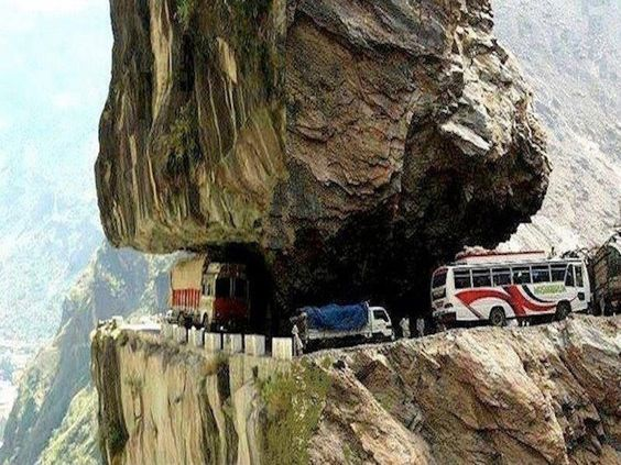 """Inching down 'death road' near La Paz, Bolivia. (From the wonderful Pinterest board, """"Latinoamerico.') Repinned by Elizabeth VanBuskirk, author of """"Beyond the Stones of Machu Picchu,"""" short stories about Inca life today, In Bolivia, the country next to Peru--across the large Lake Titicaca--you can also see the dramatic challenges of living in the high altitudes of the Andes Mountains."""