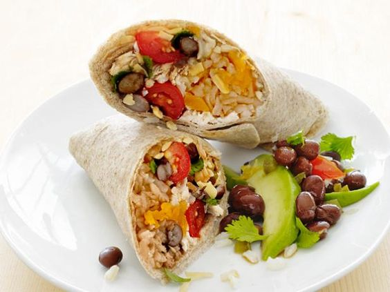 Chicken and Bean Burritos #FNMag #myplate #letsmove #protein #veggies #grains