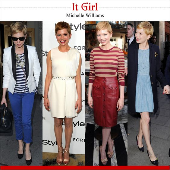 I like the way that Michelle Williams blends cute, classic, and edgy all in one look!
