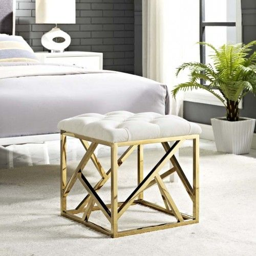 Ivory Velvet Ottoman Footstool Gold Geometric Base With Images Furniture Velvet Furniture Ottoman In Living Room