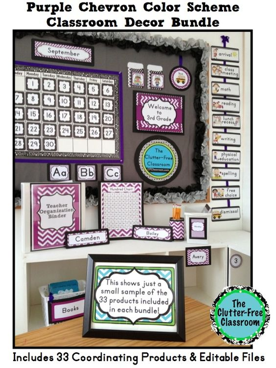 Classroom Decor Bundles ~ Purple chevron classroom decor editable clutter free