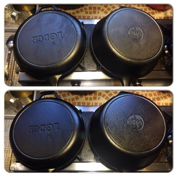 Welcome to the family Lodge cast iron pot and pan set. Top before seasoning, bottom flax seed oil x5.   ようこそLodge社の鋳鉄製の鍋&パンセット。写真上は何もつけていない状態、下は亜麻仁油を5回付けた後。