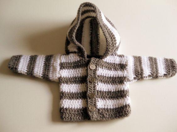 Crochet Baby Jacket Tutorial : panpancrafts: Tutorial: simple crochet striped hooded baby ...