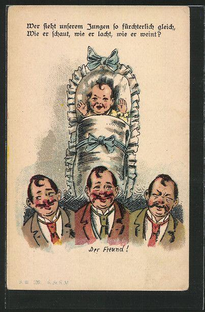 """old postcard: AK """"Der Freund!"""", Kind hat Ähnlichkeiten mit einem Freund der Familie"""