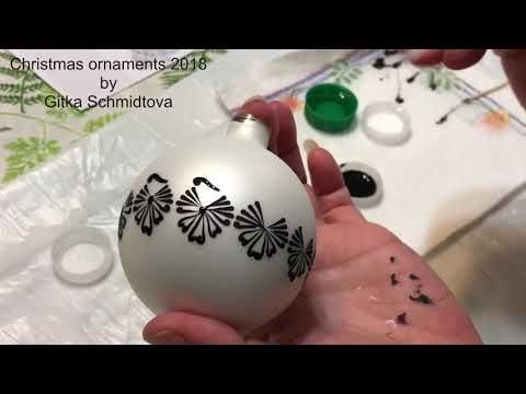 Diy Easy Acrylic Black Pattern On White Christmas Glass Ornament