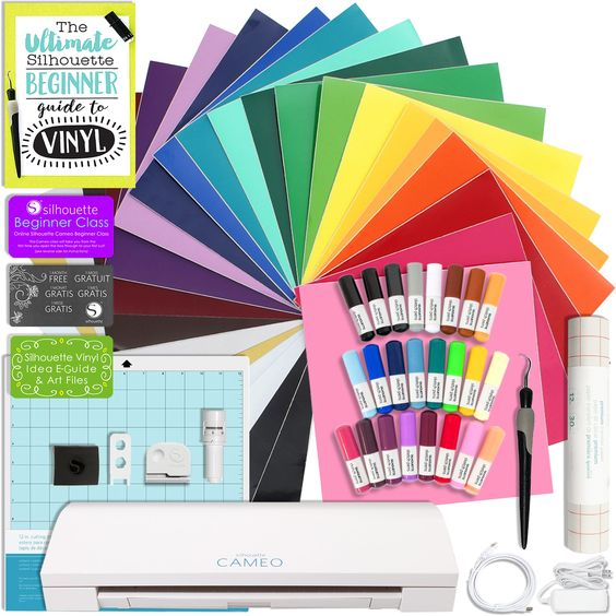 Silhouette Cameo 3 Bluetooth Bundle with 24 Oracal 651 Sheets, Transfer Paper, Guide, Class, 24 Sketch Pens, and More