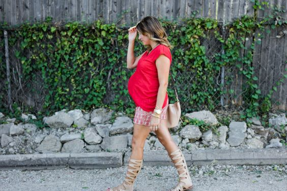 short set + gladiator sandals #maternitystyle #loft #apeainthepod