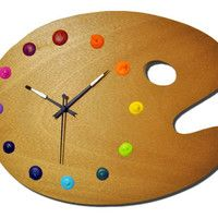 Artist Palette Wall Clock with Real Paint Globs by CutenessFactory