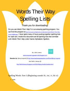 Words Their Way: 50 spelling lists!!: