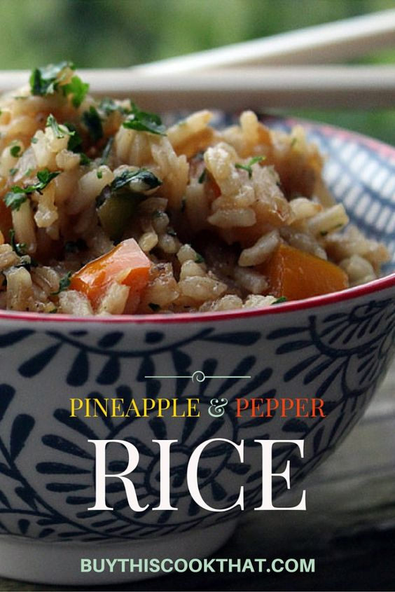 This savory-sweet rice recipe is a perfect side dish. Using bright chopped sweet peppers and crushed pineapples, our Pineapple Pepper Rice is so good!  buythiscookthat.com/rice-recipe/ #rice #pineapple #recipe