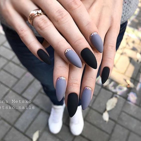 Almond Matt Nails Are Easy To See In The Street They Are One Of The Most Popular Nail Shapes In In 2020 Winter Nails Acrylic Holographic Nails Trendy Nail Art Designs