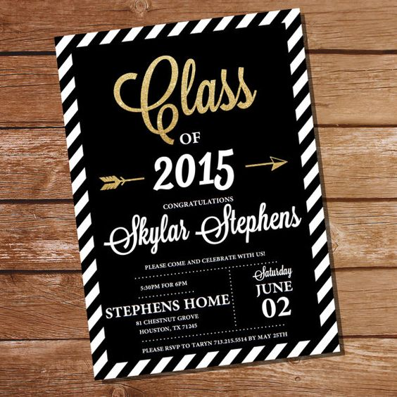 Graduation Invitation Black and Gold Graduation Invitation – Black and Gold Graduation Invitations