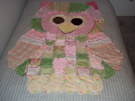 Hoot the Owl Rag Quilt by YourPictureFixer on Etsy