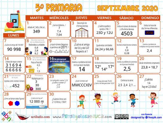 Calendario Quinto ABN – Septiembre 2020