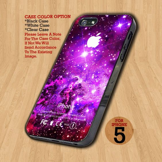 TB80 Purple Galaxy Nebula With Apple - Design on Hard Case For iPhone 5 Case