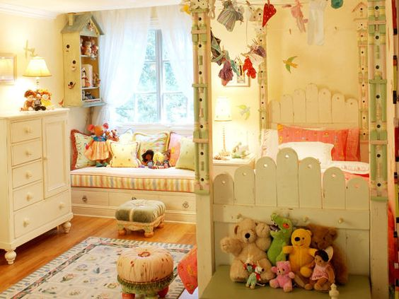 "Colorful Cottage Palettes *   Shabby chic doesn't have to translate into ""adult."" This children's room offers a blend of shabby themes from the cottage-style birdhouse to the vintage hanging doll clothes.              You Might Also Like...  More From RMS User lolabboutique"