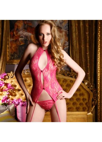 $20.49  Hot Pink Cut Out Lace Bodysuit With Matching G-string