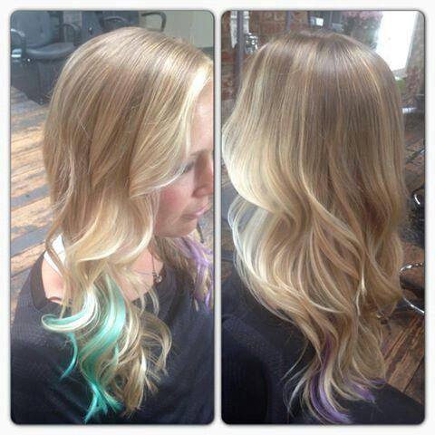Blonde balayagebut no blue or purple.