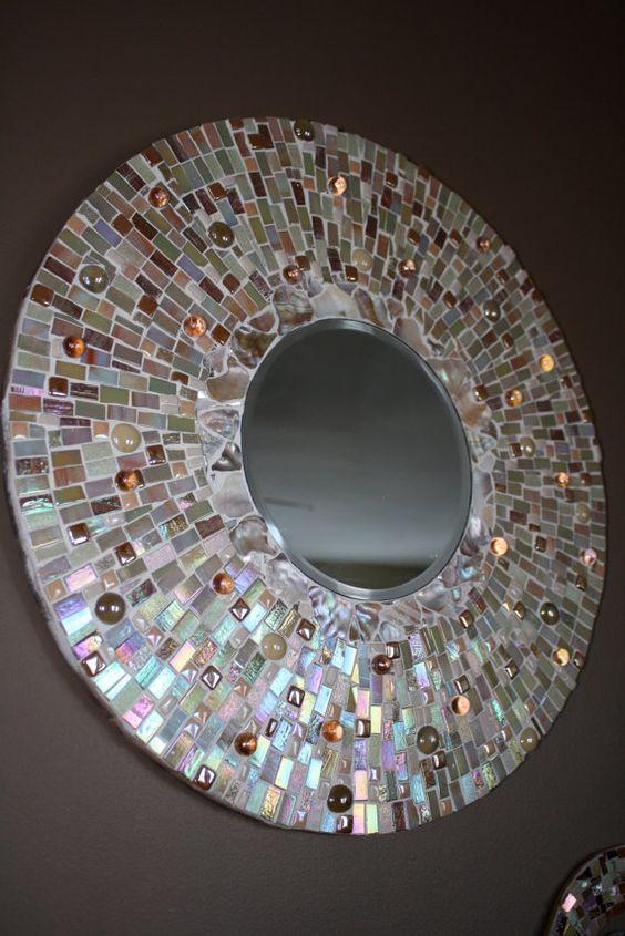 Casera, fácil de colgar vidrio/azulejo del mosaico espejo  Pieza redonda de 20 pulgadas  Uno de los tipos