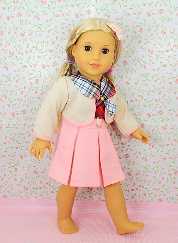 "** RUBY ROSE ** Preppy Student - Pink School Dress Set ~ Fits 18"" American Girl Dolls by *** The RUBY ROSE COLLECTION *** made by USAtoystore, http://www.amazon.com/gp/product/B005LJFBEK/ref=cm_sw_r_pi_alp_n79uqb0TVWQH8"