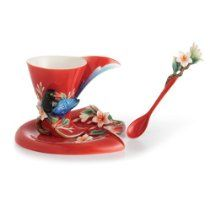 Franz Porcelain Joyful Magpie Cup Saucer Spoon - Cost $165.00  -  please click image for more info...