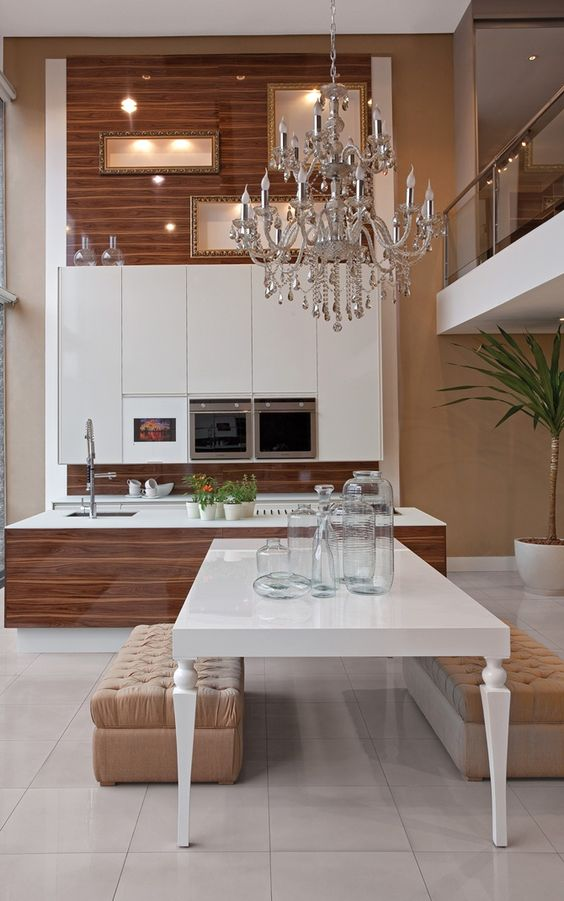 Kitchen dining rooms high ceilings and stylish kitchen on pinterest - Timeless contemporary luxury homes glamorous interior elements ...