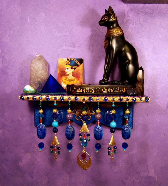 Egyptian wall altar ooak pagan decor wiccan small for Altar wall decoration
