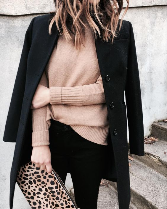 winter outfit, nude sweater, black pea coat, leopard bag