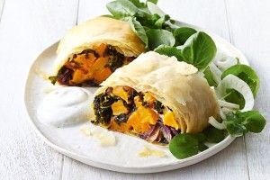 Roast pumpkin and goat's cheese parcels