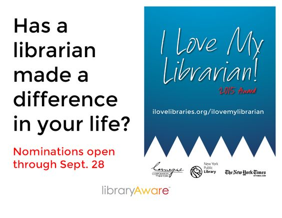 """Invite your patrons to nominate your librarians for this amazing award. We've added posters, flyers, media release and quarter flyers to help you get the word out! Search LibraryAware for """"I love my librarian"""""""