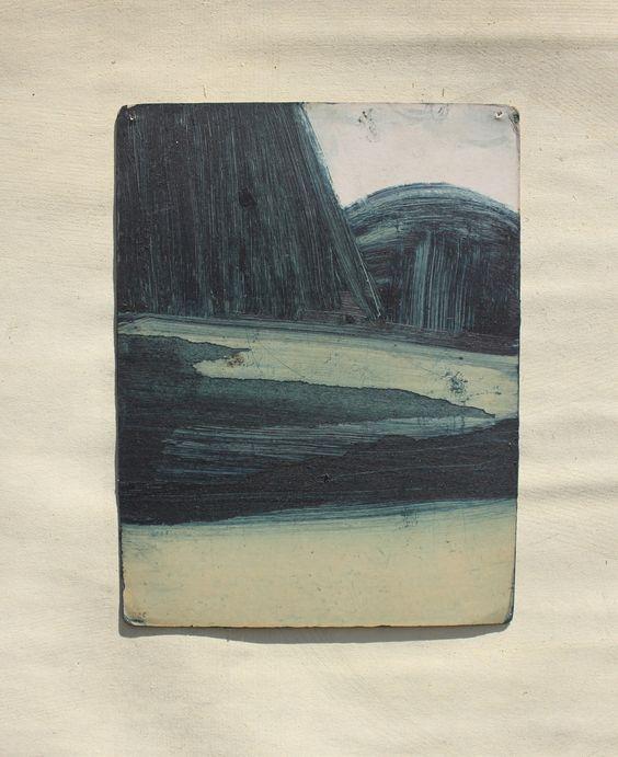 sean sullivan   landscape no. 3 oil on found paper