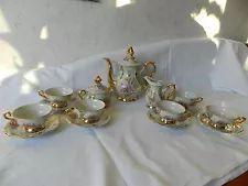 Bavaria GKC Mokkaservice Mocca Espresso Service Gold Blumen für 6 Personen
