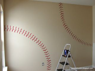 Paint the walls of your sport themed nursery or bedroom with a baseball theme!