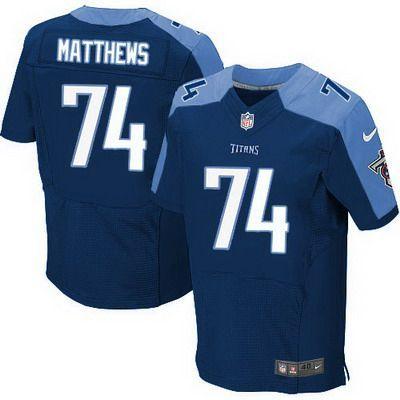 Men's Tennessee Titans #74 Bruce Matthews Nike Navy Blue Elite Jersey
