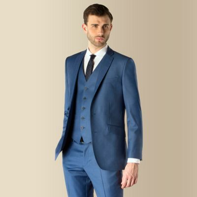 Ben Sherman Blue semi plain 2 button kings slim fit 3 piece suit