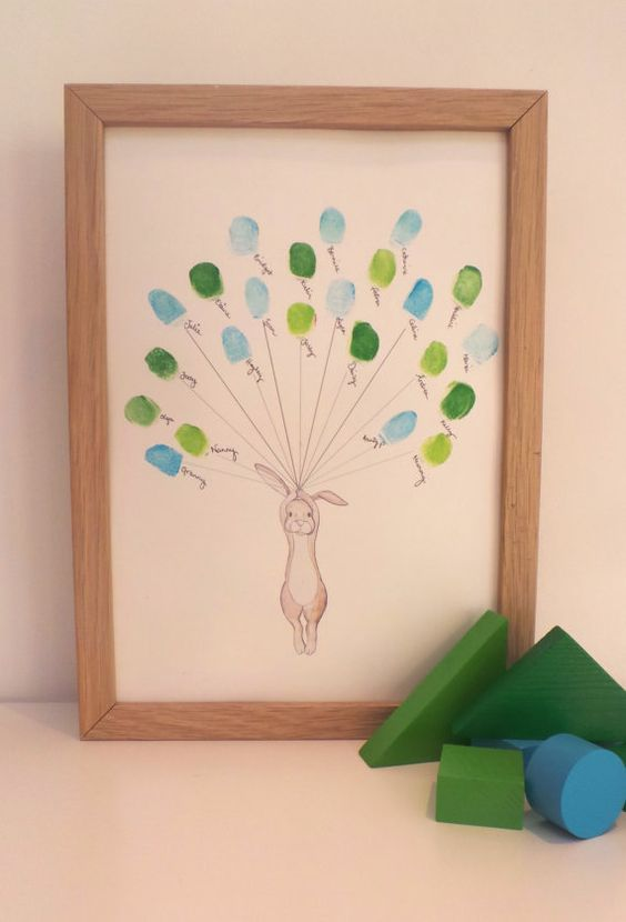 A sweet print of a hand drawn Rabbit holding balloons, that are made up of thumb/finger prints by family and friends. A lovely keepsake for